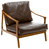 Coolidge Leather Wood Frame Armchair, Brown - Midcentury ...