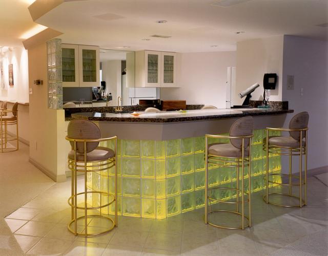 zinc top kitchen island beater glass block bar - contemporary cleveland by ...