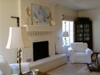 living room painted brick fireplace - Eclectic - Living ...