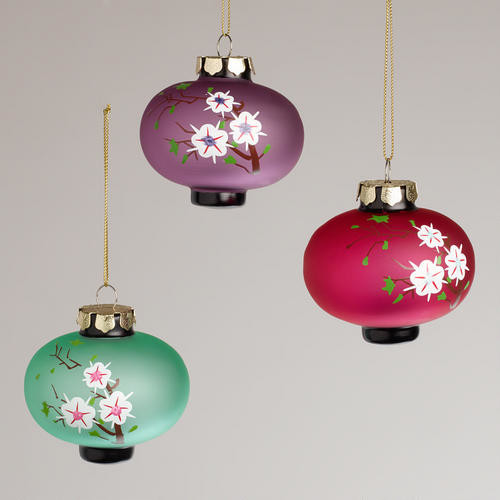 Frosted Glass Plum Lantern Ornaments  Asian  Christmas