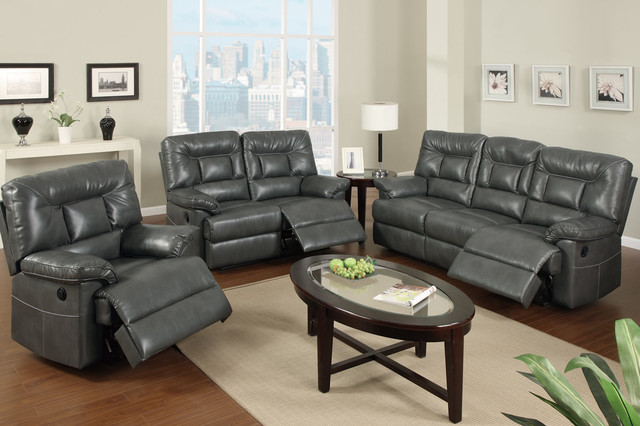 klaussner sofa and loveseat set full size sleeper ikea modern gray leather reclining power motion ...
