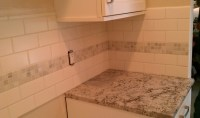 The gallery for --> Kitchen Backsplash Subway Tile With Accent