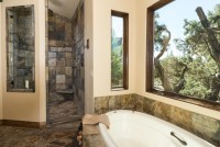 Water tower inspired home master bath suite view of shower ...