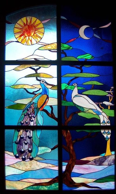 Fantasy peacocks front door stained glass  Eclectic