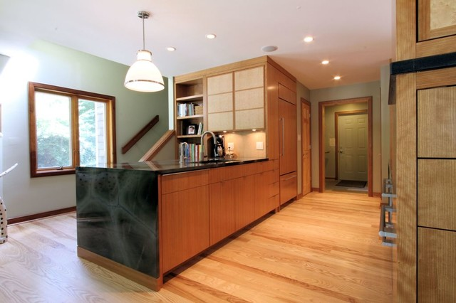 ash kitchen cabinets cheap appliances contemporary peninsula with mitered waterfall ...
