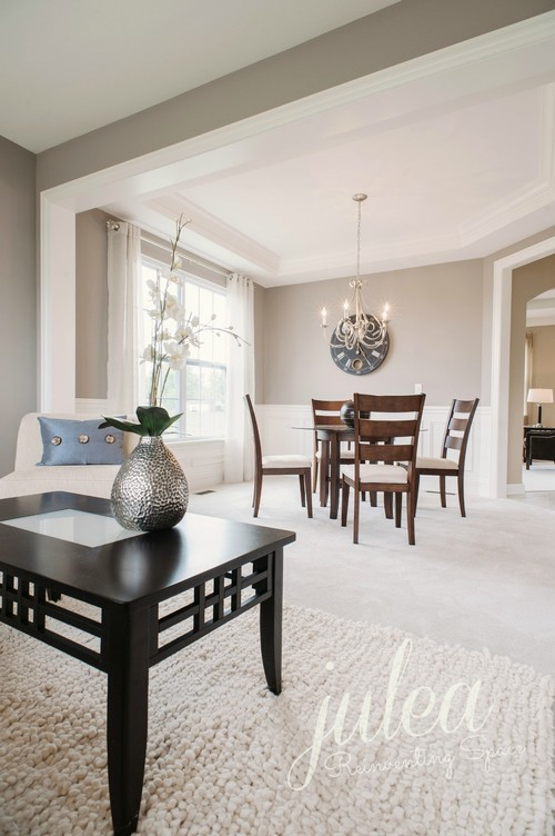 best neutral paint colors for living room sherwin williams sample rooms the light gray walls jillian lare des agreeable transitional and dining space by julea reinventing palos park