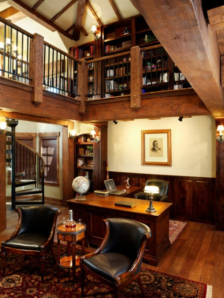 rustic home office design Timber Frame Home - Rustic - Home Office - by Sitka Log Homes