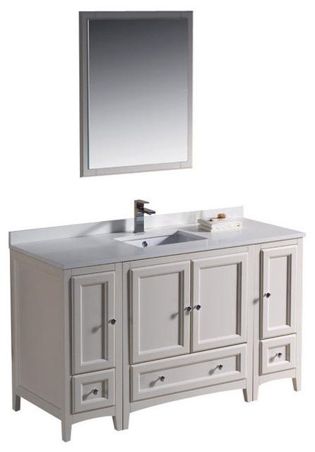 54 Inch Single Sink Bathroom Vanity in Antique White