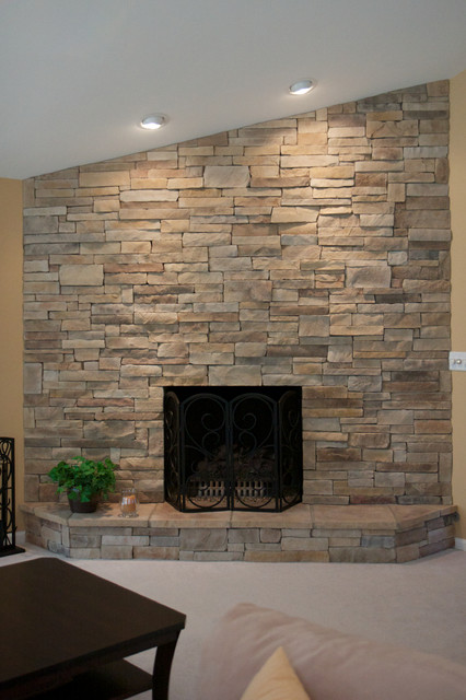 Ledge Stone Dry Stack Stone Fireplaces  Traditional  Living Room  chicago  by North Star Stone
