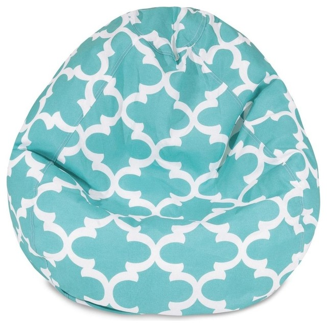 Trellis Bean Bag Chair Teal Small  Midcentury  Patio