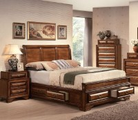 Acme Furniture - Konance Brown Cherry Sleigh 5 Piece ...