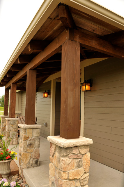 Front Porch With Timber Columns  Traditional  Exterior  other metro  by JG Development Inc