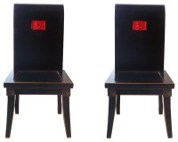 """Pair Chinese Black Lacquer Red """"Summer"""" Chairs"""