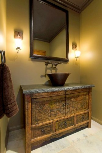 Rustic powder room  Asian  Powder Room  los angeles