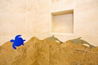 Turtle Tile in Kid's Bathroom and Pool Access Bathroom