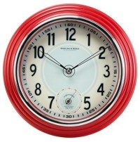 Retro Kitchen Wall Clock, Red - Traditional - Clocks - by ...