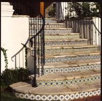 Staircase Riser Tiles - Mediterranean - Staircase - los ...