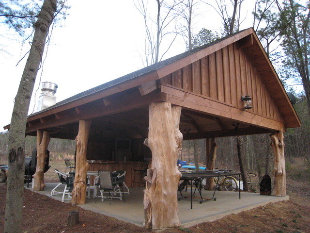 Rustic Cedar Log Pavilion Traditional Patio Nashville By Appalachian Log And Timber Homes