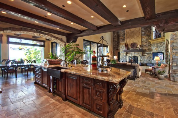 open kitchen with ceiling beams Belvedere Estates