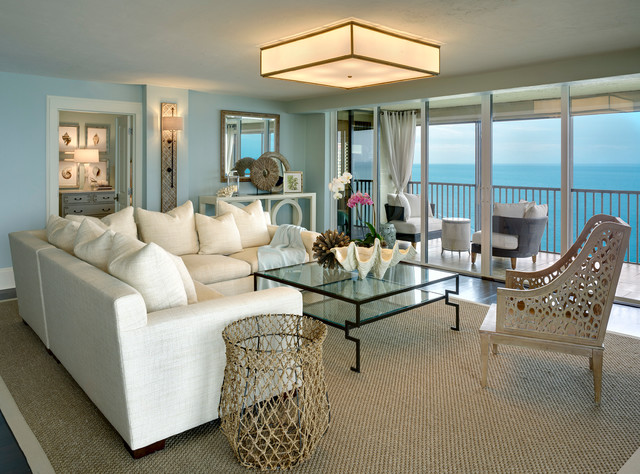 beachy living room curtains wall mounted tv design coastal cottage condo - beach style other ...