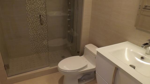Bathroom Remodel Frameless Shower Door Mosaic Glass Tile