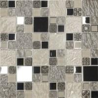 Beige Metal Textured Glass Mosaic Kitchen Backsplash Tile ...