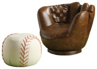 Sporty Dark Brown Baseball Glove Chair & White Ottoman