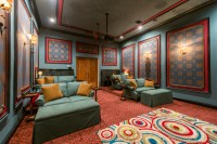Blue & Red Media Room with Stadium Seating - Mediterranean ...