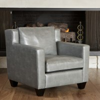 Caldwell Grey Leather Club Chair - Modern - Living Room ...