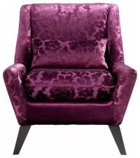 Purple Floral Velvet Modern Accent Chair - Transitional ...