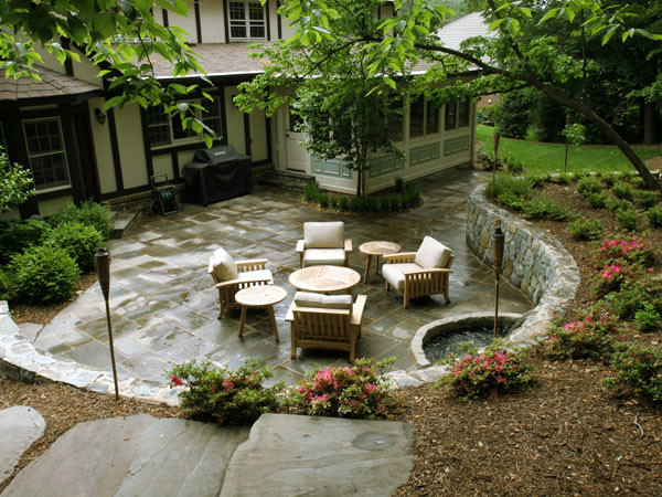 sunken flagstone patio and retaining