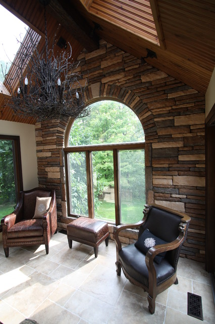 Stacked Stone Accent Wall  Traditional  Family Room