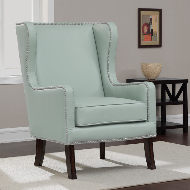 Oversized Aqua Bonded Leather Wing Chair  Contemporary