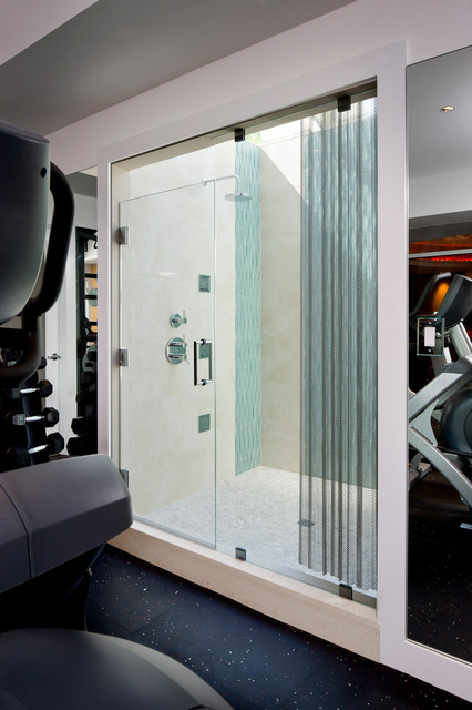 Laurel Woods Gym Shower  Modern  Home Gym  boston  by LDa Architecture  Interiors