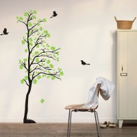 wall decals tree flying birds wall art green leaves nature ...