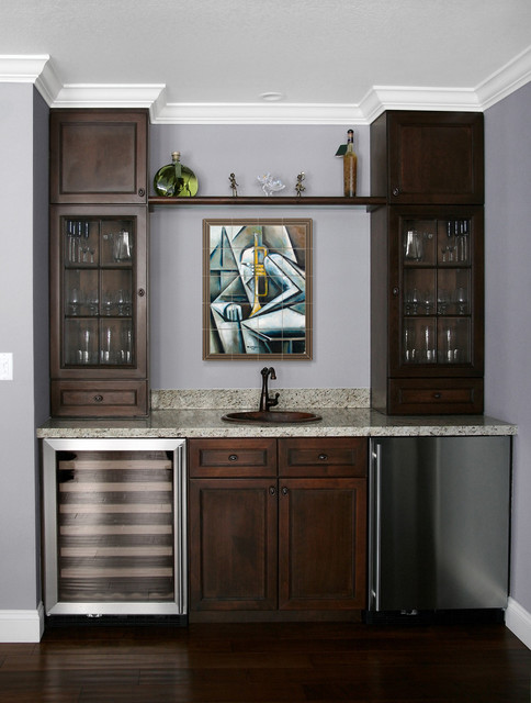 Modern tile mural in home wet bar  Modern  Family Room