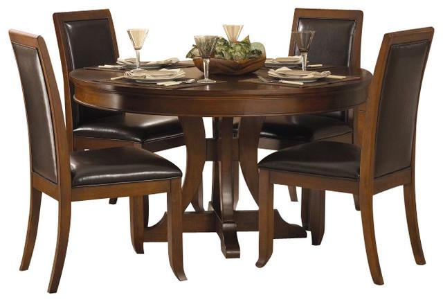 5 Piece Dining Set Pedestal Table Black