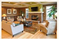 coffered ceiling great room and kitchen with stone wall ...
