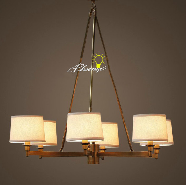 Antique 6 Fabric shades and Copper Chandelier