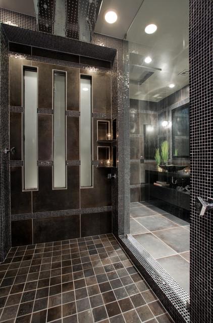 Contemporary black and gray master bathroom  Contemporary