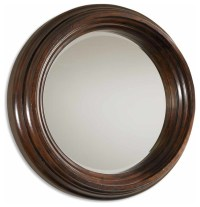 Cristiano Round Dark Wood Mirror - Traditional - Wall ...