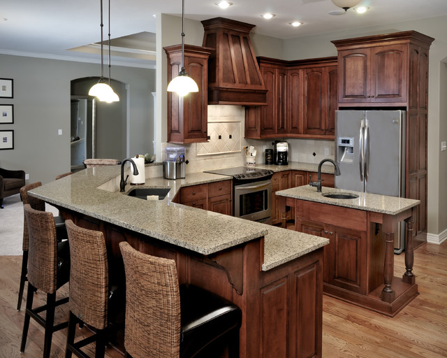 Birch Cabinetry with stained finish  Traditional