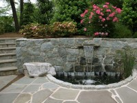 Waterfall, Stone Wall and Pond - Modern - Landscape ...