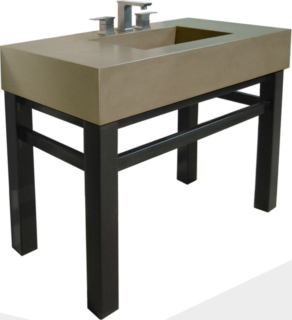 Concrete Sink  Steel Base  Contemporary  Bathroom Sinks  new york  by Trueform Concrete