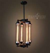 Tube cage Edison bulb chandelier 4 lights lobby hanging