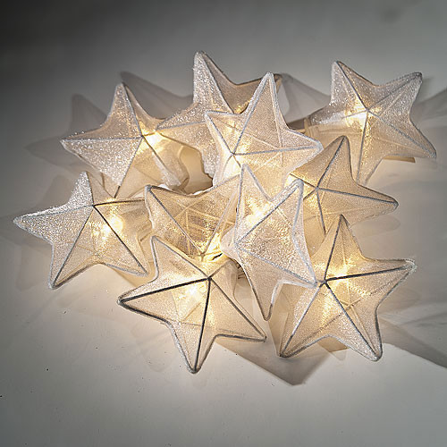 White Organza Star String Lights  Contemporary Outdoor