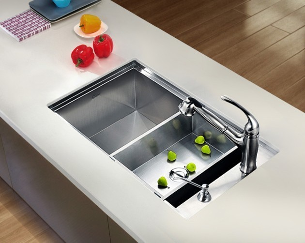 Dawn Undermount Square Single Bowl Sink With Side Drain