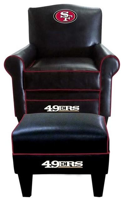 San Francisco 49ers NFL Game Time Chair  Ottoman  Modern