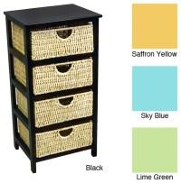 4 Drawer Compact Wicker Basket Storage Shelf ...