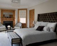 Greige Purple Paint Bedroom With Golden Oak Trim Bedroom
